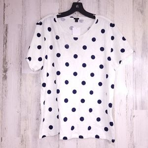 J Crew Polka Dotted Black White Short Sleeve Tee